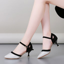 Women's Sparkling Glitter Suede Heels Sandals Pumps Latin Modern Belly Character Shoes With Ankle Strap Dance Shoes