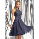 A-Line Scoop Neck Knee-Length Chiffon Prom Dresses With Appliques Lace (018254587)