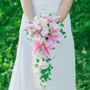 Pretty Cascade Artificial Silk Bridal Bouquets -
