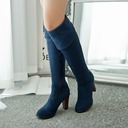 Women's Leatherette Chunky Heel Closed Toe Over The Knee Boots shoes