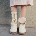 Women's PU Chunky Heel Boots Mid-Calf Boots With Lace-up shoes