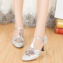Women's Sparkling Glitter Heels Sandals Ballroom With T-Strap Dance Shoes