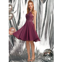 A-Line Scoop Neck Knee-Length Chiffon Prom Dresses With Beading (018254591)