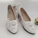 Women's Leatherette Flat Heel Flats With Rhinestone Applique
