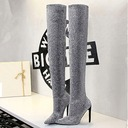 Women's Fabric Stiletto Heel Pumps Closed Toe Boots Over The Knee Boots With Sparkling Glitter shoes