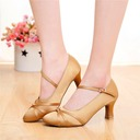 Women's Satin Heels Sandals Ballroom Swing With Buckle Dance Shoes