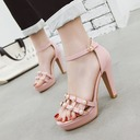 Women's PU Stiletto Heel Sandals Pumps Platform Peep Toe With Pearl Buckle Hollow-out shoes