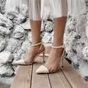 Women's Patent Leather Rubber PU Stiletto Heel Sandals Pumps Closed Toe With Buckle Hollow-out shoes