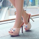 Women's Sparkling Glitter Stiletto Heel Sandals Pumps Platform Slippers With Rhinestone Jewelry Heel shoes