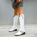 Women's Leatherette Low Heel Mid-Calf Boots Pointed Toe With Sequin Animal Print shoes