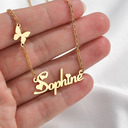 Custom 18k Gold Plated Butterfly Name Necklace With Butterfly -