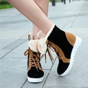 Women's Suede Low Heel Flats Closed Toe With Lace-up shoes