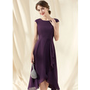 A-Line Scoop Neck Asymmetrical Chiffon Cocktail Dress With Bow(s) Cascading Ruffles (016252904)
