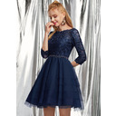 A-Line Scoop Neck Short/Mini Tulle Prom Dresses With Beading Sequins (018254574)