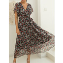 Floral Print A-line V-Neck Short Sleeves Maxi Casual Vacation Skater Wrap Dresses (294257200)