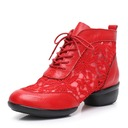 Women's Real Leather Mesh Modern Jazz Sneakers Dance Shoes