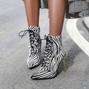 Women's Leatherette Stiletto Heel Ankle Boots With Lace-up shoes