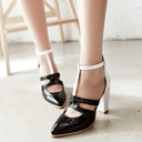 Women's Leatherette Chunky Heel Sandals Pumps Closed Toe With Hollow-out shoes