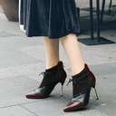 Women's PU Stiletto Heel Pumps Closed Toe Ankle Boots With Zipper Split Joint shoes