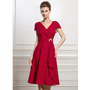 A-Line V-neck Knee-Length Chiffon Mother of the Bride Dress With Beading Sequins Cascading Ruffles (008056884)