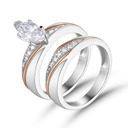 Stackable Two Tone Marquise Cut 925 Silver Bridal Sets