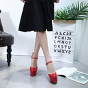 Women's Patent Leather Stiletto Heel Sandals Pumps Platform Closed Toe Slingbacks With Buckle Flower shoes