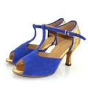 Women's Sparkling Glitter Suede Heels Sandals Latin With T-Strap Dance Shoes