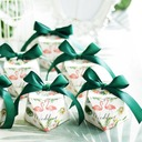 Pretty Floral Theme diamond shape Card Paper Favor Boxes & Containers With Ribbons (Set of 20)
