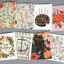 Modern Style/Floral Style Side Fold Birthday Cards/Thank You Cards/Greeting Cards