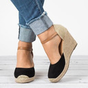 Women's Velvet Wedge Heel Sandals Wedges With Split Joint shoes