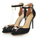 Women's Suede Stiletto Heel Pumps Closed Toe Mary Jane With Imitation Pearl Buckle shoes