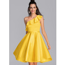 A-Line One-Shoulder Knee-Length Satin Homecoming Dress With Cascading Ruffles (300244463)