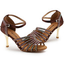 Women's Satin Heels Modern Jazz With Rhinestone Dance Shoes
