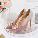 Women's Sparkling Glitter Stiletto Heel Closed Toe Pumps With Crystal Pearl