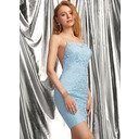 Sheath/Column Square Neckline Short/Mini Tulle Homecoming Dress With Lace (300254344)