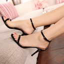 Women's Patent Leather Stiletto Heel Sandals Peep Toe With Lace-up shoes