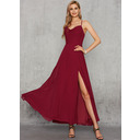 A-Line V-neck Ankle-Length Chiffon Prom Dresses With Split Front (018254413)