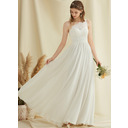A-Line One-Shoulder Floor-Length Chiffon Lace Wedding Dress With Split Front (002234885)