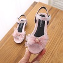 Girl's Peep Toe Slingback Leatherette Flat Heel Sandals Flats With Bowknot Velcro