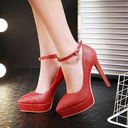 Women's Leatherette Stiletto Heel Pumps Platform With Buckle shoes