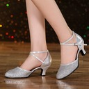 Women's Leatherette Sparkling Glitter Heels Sandals Ballroom Swing Dance Shoes