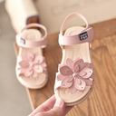 Girl's Peep Toe Slingback Leatherette Flat Heel Sandals Flats With Velcro Flower