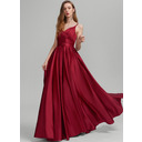 A-Line V-neck Floor-Length Satin Prom Dresses With Ruffle Pockets (018234432)