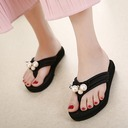 Women's Cloth Low Heel Sandals Flip-Flops With Imitation Pearl shoes
