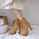 Women's PU Chunky Heel Pumps Platform Boots With Buckle Lace-up shoes
