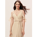 A-Line V-neck Floor-Length Chiffon Bridesmaid Dress With Ruffle Split Front (007233659)