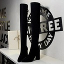 Women's Suede Chunky Heel Pumps Closed Toe Boots Over The Knee Boots With Rivet Lace-up shoes