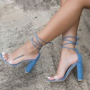 Women's Suede Fabric Chunky Heel Sandals Pumps Peep Toe With Lace-up shoes