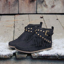 Women's Suede Flat Heel Boots Ankle Boots Mid-Calf Boots With Tassel shoes