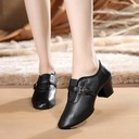 Women's Real Leather Heels Swing With Buckle Dance Shoes